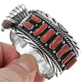 Navajo Coral Sterling Watch Cuff 23071