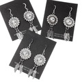 Sterling Silver Feather Western Concho Earrings 16354