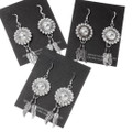 Sterling Silver Feather Western Concho Earrings 16354