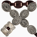 Native American Silver Concho Belt 15793