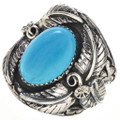 Turquoise Silver Navajo Mens Ring 24984