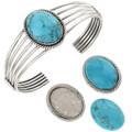 Blue Turquoise Silver Bracelet 22107