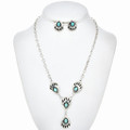 Turquoise Bear Paw Y Necklace Set 13270