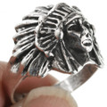Sterling Indian Chief Ring 18716