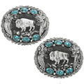 Turquoise Silver Buffalo Belt Buckle 23652