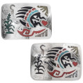 Bear Paw Belt Buckle Turquoise Coral Inlay 27356
