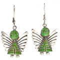 Gaspeite Silver Angel Earrings 29521