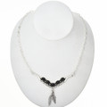 Onyx Silver Vee Feather Necklace 29255