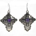 Amethyst Silver Cross Dangle Earrings 28851