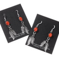 Coral Feather Dangle Ladies Earrings 29406