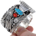 Native American Turquoise Silver Watch Bracelet 24481