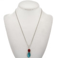 Turquoise Coral Navajo Pendant 29307