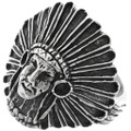 Indian Chief Silver Ring 26881