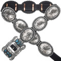 Turquoise Silver Full Size Concho Belt 25656