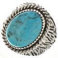 Navajo Turquoise Silver Mens Ring 29390