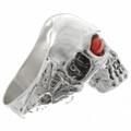 Arrowhead Shank Silver Skull Ring 26738