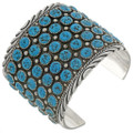 Wide Navajo Turquoise Cluster Cuff 26948