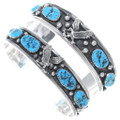 Navajo Sterling Silver Turquoise Cuffs 18683
