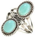 Two Stone Turquoise Navajo Ring 25873