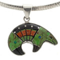 Turquoise Opal Silver Bear Necklace 1998