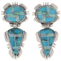Turquoise Opal Post Dangle Earrings 28031