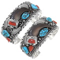 Western Sterling Silver Turquoise Real Bear Claw Bracelet 18936