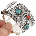 Turquoise Coral Navajo Mens Watch 24488