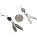 Silver Feather French Hooks Earrings 29404