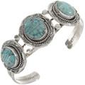Ladies Turquoise Inlaid Silver Bracelet 28241