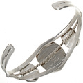 Southwest Ladies Coral Silver Cuff 28244