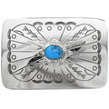 Navajo Turquoise Silver Belt Buckle 28035