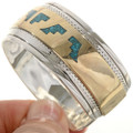 Turquoise Chip Inlay Gold Bracelet 17797