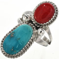 Turquoise Coral Silver Ring 29305