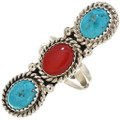 Turquoise Coral Ladies Pointer Ring 29114