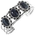Matching Navajo Banded Onyx Gemstone Silver Bracelet 28912
