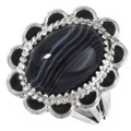 Native American Banded Onyx Ladies Ring Jewelry Set 28912