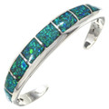 Native American Inlaid Opal Silver Cuff 29641