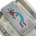 Turquoise Coral Navajo Money Clip 22841