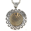 Hopi Gold Man In The Maze Silver Pendant 29789