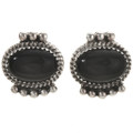 Navajo Black Onyx Silver Earrings 28841