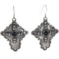 Black Onyx Silver Cross Earrings 28854