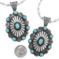 Navajo Silver Concho Southwest Turquoise Pendant 24751