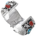 Natural Turquoise Coral Silver Mens Watch Cuff 23019