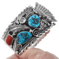 Turquoise Coral Silver Mens Watch Bracelet 23019