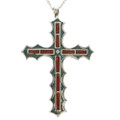 Coral Turquoise Navajo Cross Pendant 28512