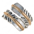 Native Silver Gold Bypass Feather Ring 24558