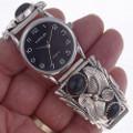 Native American Onyx  Silver Watch 23010