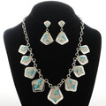 Inlaid Turquoise Opal Necklace Set 15184