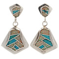 Inlaid Opal Dangle Post Earrings 15184