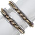Silver Gold Navajo Heavy Bracelet 18058